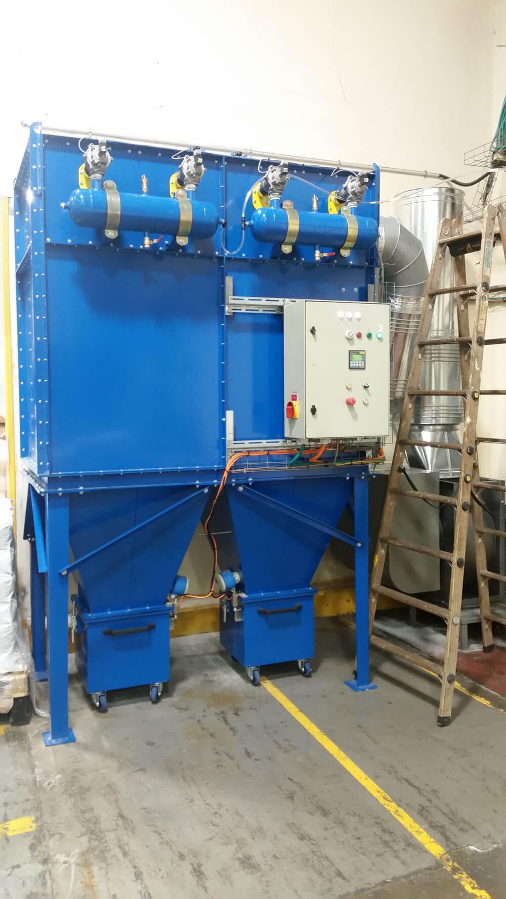 מערכת שאיבת אבק מרכזית לעמדות שפיכת חומר גלם